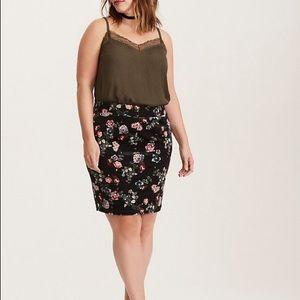 Torrid Velvet Floral Mini Skirt Vintage Inspired